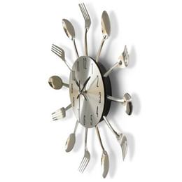 Wholesale Decoration Kitchen - New Round Wall Clock Solid Metal Silver Practical Knife Fork Spoon Shape Clocks Kitchen Restaurant Decoration Home Accessories 21hr Y