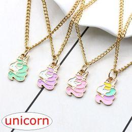 Wholesale Girls Enamel Jewelry - INS Fashion Unicorn Choker Necklace Gold Enamel Animal Clavicle Necklaces & Pendants For Women Girls Christmas Gift 4colors choose free ship