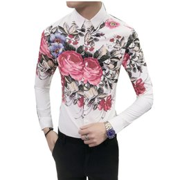 Повседневная одежда для мужчин онлайн-New 2018 Autumn Men Casual Shirts Fashion Long Sleeve  Floral Button-Up Formal Business Blouse Men Dress Shirt Clothes