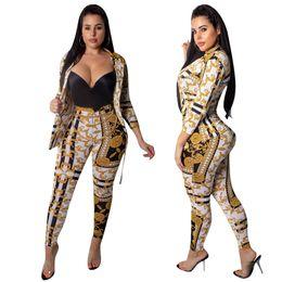 2019 blazers stampati per le donne blazer donna pantalone stampa cappotto leggings due pezzi tuta sportiva cardigan pantaloni pantaloni collant Vestito casual abiti firmati autunno sconti blazers stampati per le donne