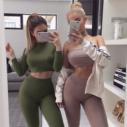 Wholesale Womens Cotton Tights - 2017122137 Rompers Womens Jumpsuit Long Sleeve Two Pieces Outfits Tight Party Bodycon Bodysuit Jumpsuits Sexy Overalls For Women