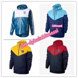 Wholesale Real Madrid Tracksuit - AAA+ 2017 real madrid soccer tracksuit Hooded jacket 17 18 KUN AGUERO MESSI NEYMAR JR football hooded Windbreaker jackets