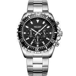 MEGIR  Watch men Steel Chronograph Sport Mens Watches Top  Quartz Wrist Watch Business Reloj Hombre relogio Masculino от