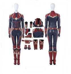 Trajes do dia das bruxas on-line-Nova Ms Marvel Capitão Marvel Carol Danvers Traje Cosplay Macacão Outfit Halloween Party Adulto Comic Mulheres Conjunto Completo Com Sapatos