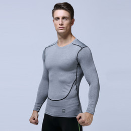 Wholesale tight gym shirts men - Men Compression Run jogging Suits Sportswear Sports Set Long sleeves t shirt leggings male Gym Fitness Tight clothing 2pcs Sets MMA364