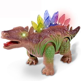 Wholesale Play Dinosaurs - Kids Novelty Dinosaur Toys Electric Stegosaurus Toy Walking Robot Roaring Dinosaur Toy with Light and Roar for Children Playing