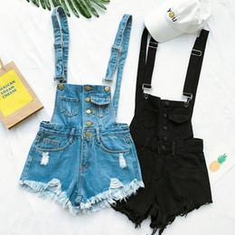 2020 jeans coreanos de talle alto Nueva colección Summer Korean Loose Women Denim Mono de talle alto con agujero rasgado Wavy Edge Jumpsuit Jeans de moda Mono rebajas jeans coreanos de talle alto