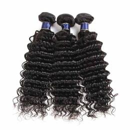 mechones de cabello virgen ondulado mojado Rebajas 8A Pelo virginal brasileño al por mayor 2/3 Paquetes Onda profunda Tejido de cabello humano Color natural Húmedo ondulado Extensiones de cabello humano peruano de Malasia