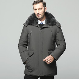 стойки для белых носителей Скидка M-5XL 2018 зимние пальто мужчины средний стиль пуховики сгущаться теплый стенд воротник белая утка вниз пальто на молнии с капюшоном