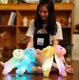 Wholesale Stuffed Plush Puppies - LED Puppy Dog Plush Luminous Dog Plush Doll Colorful LED Glowing Dogs Cute Stuffed Animal Toys 4 Colors 30pcs OOA4023