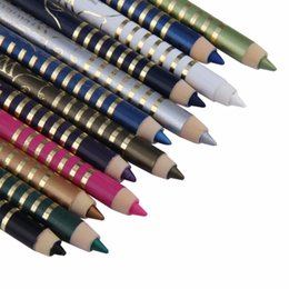 Conjunto de polos online-Profesional 12 Colores / set Polo de madera Eyeliner Gel Pen Eye liner Lápiz Cosméticos Ojos Permanente Dazzle Color duradero a prueba de agua