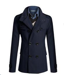 Estilo de casaco de lã dos homens on-line-Designer de marca - Casal Casal duplo Casaco Casaco britânico Casaco estilo britânico Colgante fino Casaco tricô Longo Homens Casaco de lã de homem Manteau Homme f