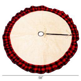 Cheque regalo online-Patchwork Check Arpillera Ruffle Faldas del árbol de Navidad Blanks al por mayor 54 pulgadas Red Buffalo Christmas Mat Adorno Decoración Regalo DOM1095