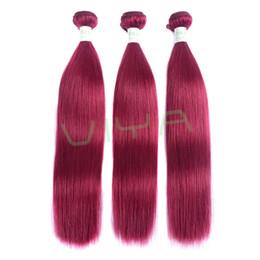 Sedoso cabello tejido rojo recto online-Las extensiones brasileñas del pelo de Borgoña del grado 9A rojo vino 3bundles el pelo humano recto sedoso borgoño brasileño teje el envío libre de DHL