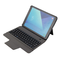 Wholesale bluetooth keyboard galaxy - Wireless Bluetooth Keyboard Case For Samsung Galaxy Tab S3 9.7 T820 T825 Leather Cover Case Tablet keyboard with Stand