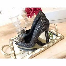 famous high heels brands Promo Codes - 2018 Luxurious Brand Famous Designer Genuine Leather Pointed Toe Wedding Bridal Shoes Beading Crystals Prom Party High Heels