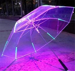 adult flashlight Coupons - 7 Colors Changing Color LED Luminous Transparent Umbrella Rain Kids Women with Flashlight For Friends Best Gift