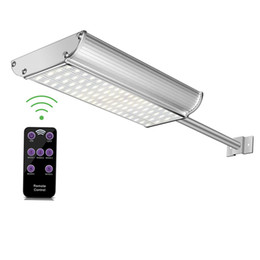 Wholesale Outdoor Wall Mount Lighting - Solar Lights Wall Sconces Aluminum Shell 70led 1100lm 4500mah White and Warm white Mounting Pole Outdoor wall Light
