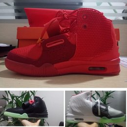 Wholesale Pure Fishing - Red October Kanye west 2 mens Basketball Shoes women Solar Red Sneakers For sale fashion Wolf Grey Pure Platinum trainer fish skin size36-47