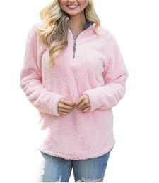 Wholesale Oversized Winter Sweater - Pullover Women Winter Fall Fleece Hoodie Sweatshirt Oversized V-Neck Zipper Sweaters Long Sleeve Tops Pink Plus Size S-2XL