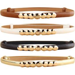 2019 cinturones delgados de oro Cinturón de cuero de imitación de las mujeres Tono dorado Aleación Hebilla Faja delgada Cintura ajustable rebajas cinturones delgados de oro