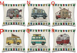 Wholesale Camping Supplies - Cheapest!!! Happy Campers Linen Pillow Case Camp car Cushion Cover RV pillowcover for Bedding Supplies outdoor sports