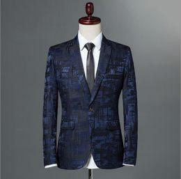 Wholesale suite jackets - Male Suite 2018 Autumn Classic Brand Blazer Men Single Button Casual Print Slim Fit Business Suit Jacket Wine red Grey Khaki