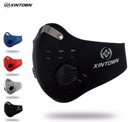 Masques faciaux au charbon actif en Ligne-XINTOWN hommes / femmes activés au charbon anti-poussière vélo masque facial anti-pollution vélo vélo en plein air en cours d'exécution masque masque bouclier CM2