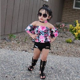Wholesale denim suits girls - Toddler Baby Girls Clothing sets Off Shoulder Tops Shirt Floral Hole shorts Outfits Kids Girl Summer Clothes suit