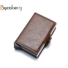 Tarjetas de visita rfid online-Bycobecy 2018 Portatarjetas RFID Bloqueo Caja de metal doble Monedero Monedero Caja de tarjeta de visita de cuero de aluminio