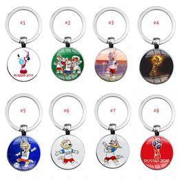 Wholesale Glass Cabochon Wholesale - Creative 2018 Russia World Cup Football Mascot Zhabei Waka Key Chain Ring Souvenir Pendant Round glass cabochon Keychain Gifts