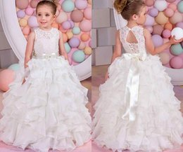 Wholesale Black Satin Bow Belt - 2018 White Ivory Lace Flower Girl Dresses For Weddings Baby Birthday Organza Ruffled Tiered Beaded Bow Belt Kids Party Gowns Pageant Dress