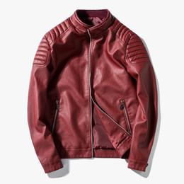 2448716ab6a6 Vente en gros- Rouge Bleu Noir Veste En Cuir Hommes Mince Moto Zipper  Cardigans Biker Daim Vestes Pu Hommes Manteaux Bomber Printemps Hiver Casual
