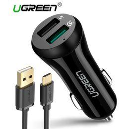 2019 iphone 4s tragbare ladegeräte Ugreen 3A Autoladegerät 18W Quick Charge 3.0 Autoladegerät mit Ladekabel Schnell Dual USB Handy Autoladegerät Quick