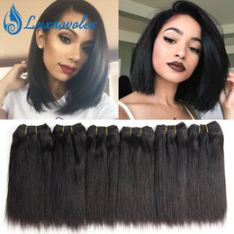 Wholesale Short Straight Hair Extensions - Malaysian Straight Hair Bundles Brazilian Peruvian Indian Short Human Hair Weave 6 Bundles Human Hair Extensions 8 Inch 50g Bundle Wholesale