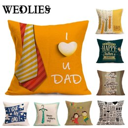 Wholesale Knitted Seat Cushion - Pillow Case Cover Father 's Day Gift Cotton Linen Cushion Pillow Cover Decorative Chair Seat Square 45x45cm Home Living Room