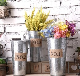 Wholesale Vintage Metal Planter - Retro Metal Planter Flowerpot Vintage Rustic Nostalgia Iron Buckets Garden Pots Tin Planters Bucket Storage Container