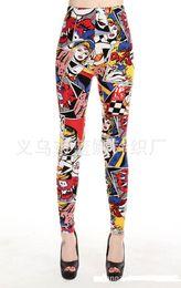 Wholesale women cartoon legging - Women Comic Leggings Cartoon Printed Leggins high Stretch Girls Legging Punk Rock Leggin Disco Pants Evening Clubwear