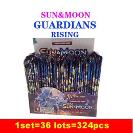 Wholesale Board Settings - 324pcs set Sun&Moon Guardians Rising Card Game Cartoon Poke Trading Cards for Adult Kids Novelty Party Board Game Toys DHL