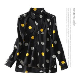 Wholesale Long Blouse Neck Designs - 2018 Printed Polka Dot Print Long Sleeves Crew Neck 100% Real Silk With Ribbon Lady Top Blouse Women Brand Design Shirts 1221