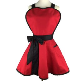 Wholesale Choose Work - Red color for choose Length 72cm factory price wholsale heart shaped cotton apron cute sexy work nail apron