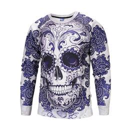 Sudadera con capucha de la camiseta del cráneo 3d del mens online-Halloween Mens 3D Hoodies Primavera Otoño Invierno Skull Turkey Impreso Cute Sudaderas O-cuello Pullovers