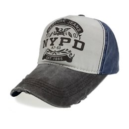 Wholesale Police Ball Caps - Retro Baseball Cap Fit Fitted Hat NYPD Cap Men Snapback Washed Cap Women Bone Dad Hat Casquette New York Police Caps MX17185