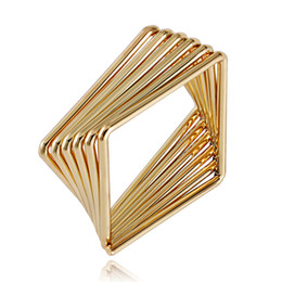 Wholesale Rhombus Ring - Simple New Fashion Geometric Rhombus Ring Eco-Friendly Copper Plated Gold Engagement Rings Band For Women A00282