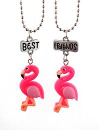 Wholesale Halloween Birds - 2018 Red Flamingo pendant Necklace For Women silver Metal Red-crowned Pendant Cartoon Animal Bird Choker Necklaces Colar 162664