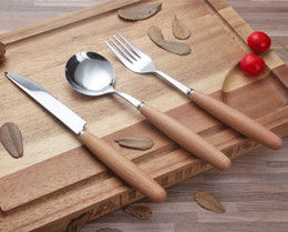 Messer gabel löffel obst gesetzt online-Japanischen stil holz hanlde edelstahl steak messer obst gabel suppe reis eis kaffee tee löffel besteck geschirr Set h125C