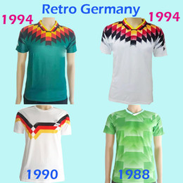 Wholesale Football German - Thailand 1988 1990 1994 German home Retro Soccer Jerseys 88 90 94 away green vintage Classic Collection Keep unique football shirts maillot