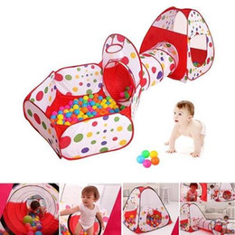 3in1 Foldable Pop Up Play House Hut Tunnel Basketball Kids Tent Cubby Ball Pool Indoor Outdoor Toys Tent OOA5477