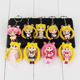 2019 la luna de marinero Anime Sailor Moon llavero Mars Jupiter Mercury llaveros PVC figura juguetes llavero bolsa colgantes regalo para los niños la luna de marinero baratos