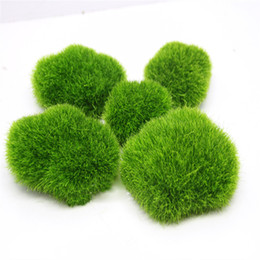 Wholesale red garden stones - Wholesale- Miniature Artificial Moss Plant Long Plush Stone Micro Landscaping Home Garden Decor Wedding Decoration Craft DIY Accessories